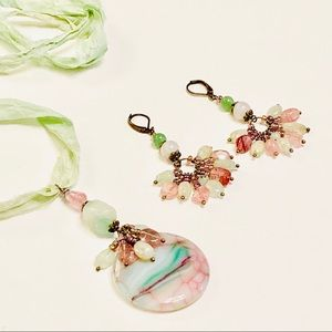 Romantic Strawberry Quartz & Prehnite Necklace Set